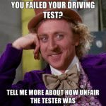 you failed your driving test
