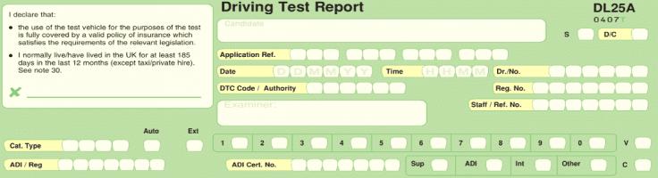 Driving Test Marking Sheet