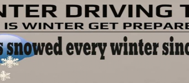winter driving tips, get prepared for bad weather.
